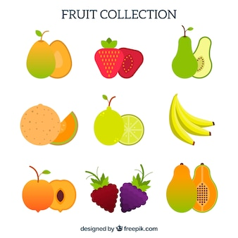 Collection de fruits en design plat