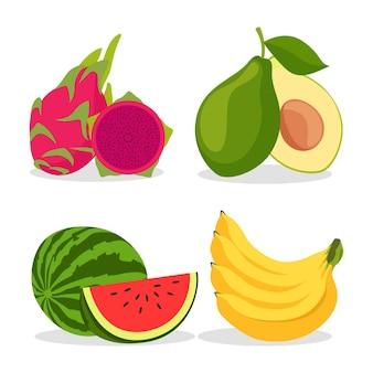 Collection de fruits design plat