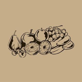 Collection de fruits dessinés à la main vintage