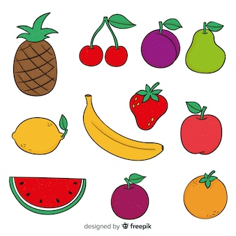 Collection de fruits dessinés à la main