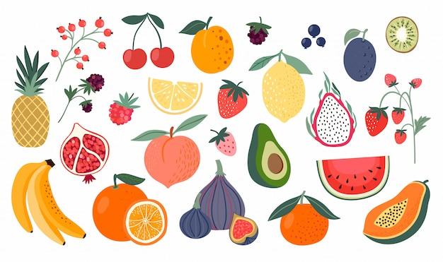 Collection de fruits différents, style doodle, isolé sur blanc