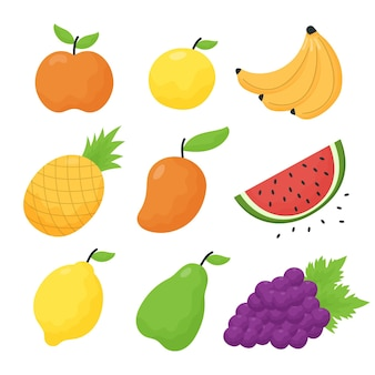 Collection de fruits illustration plate
