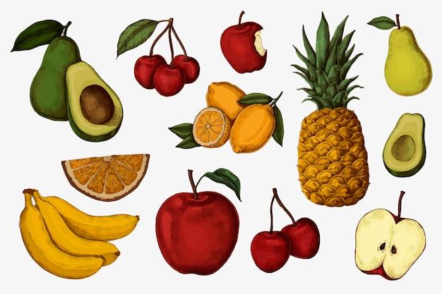 Collection de fruits juteux colorés mûrs