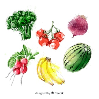 Collection de fruits et légumes à l'aquarelle