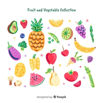 Collection de fruits et légumes doodle