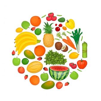 Collection de fruits et légumes plats s