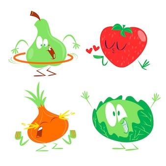 Collection de fruits et légumes rétro de dessin animé