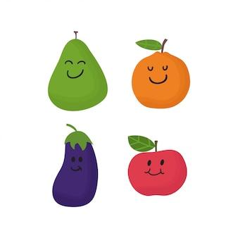 Collection de fruits mignons