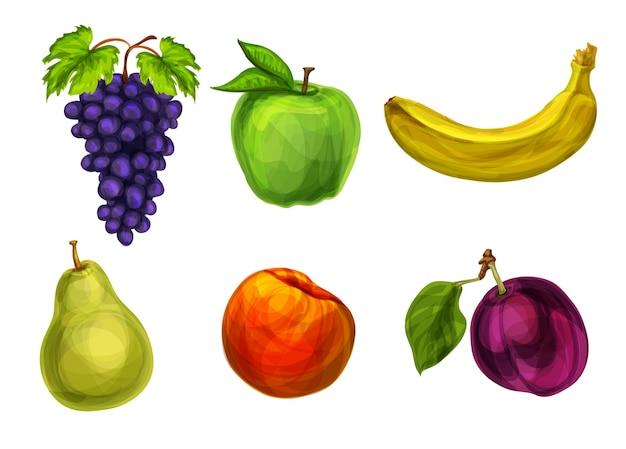 Collection de fruits organiques frais