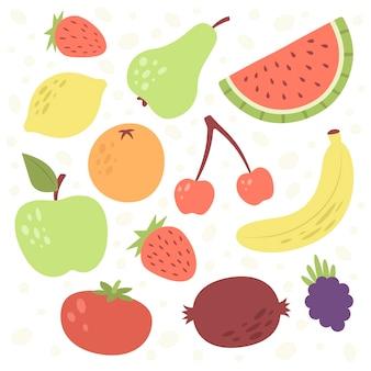 Collection de fruits plats biologiques illustrée
