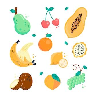 Collection de fruits plats biologiques