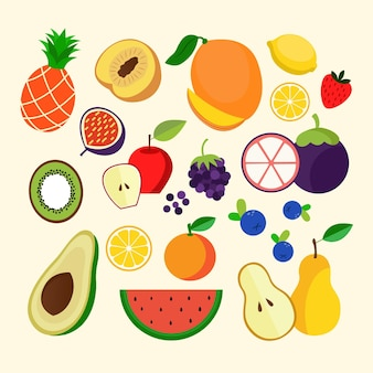 Collection de fruits plats biologiques
