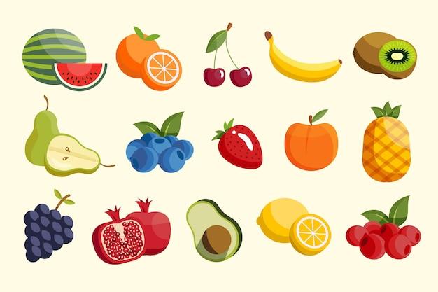 Collection De Fruits Plats Vecteur gratuit
