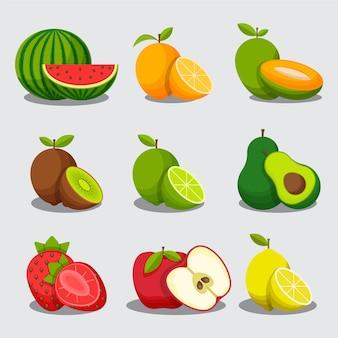 Collection de fruits plats