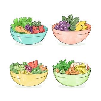 Collection de fruits et saladiers
