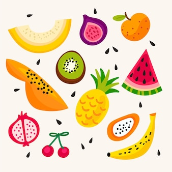 Collection de fruits savoureux dessinés à la main
