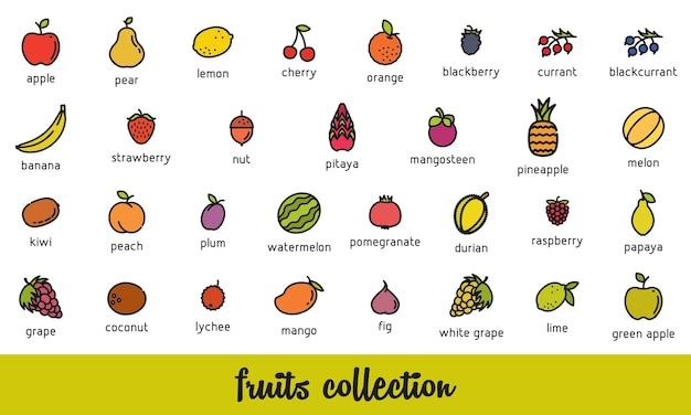 Collection de fruits set d'icônes de nourriture végétarienne saine