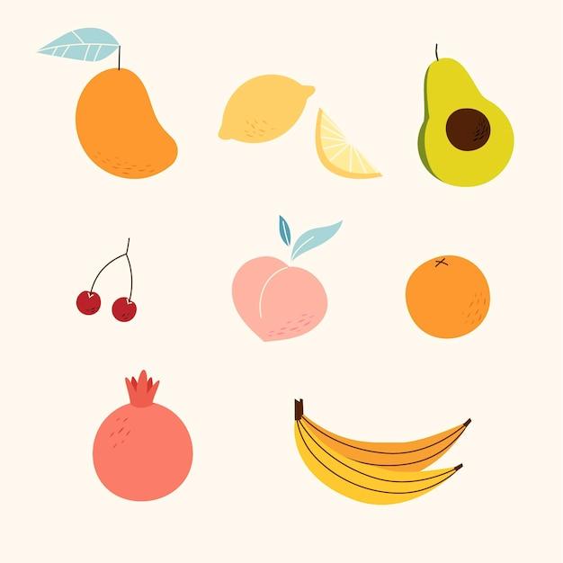 Collection de fruits sucrés design plat