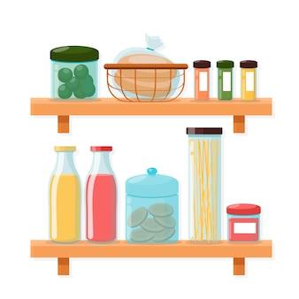 Collection de garde-manger plat illustrée