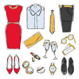 Collection De Garde-robe De Soirée Colorée Doodle Vecteur gratuit