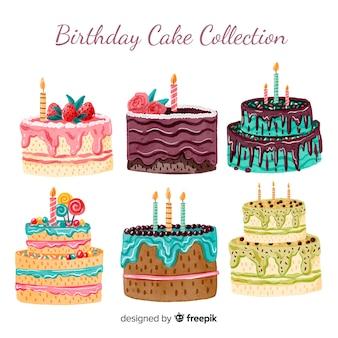 Collection de gâteaux d'anniversaire aquarelle