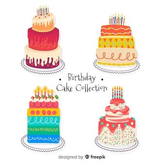 Collection de gâteaux d'anniversaire colorés