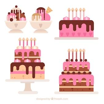 Collection de gâteaux d'anniversaire dans un style plat