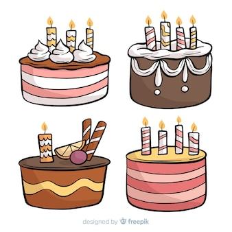 Collection de gâteaux d'anniversaire dessinés à la main