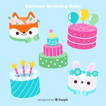 Collection de gâteaux d'anniversaire plats