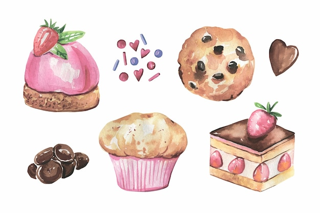 Collection de gâteaux, chocolat dessinés à la main à l'aquarelle