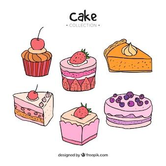Collection de gâteaux dans un style dessiné à la main