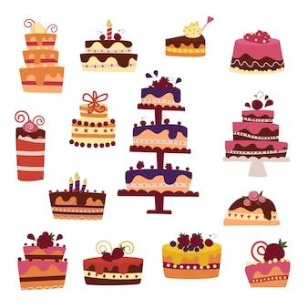 Collection de gâteaux de vecteur isolée