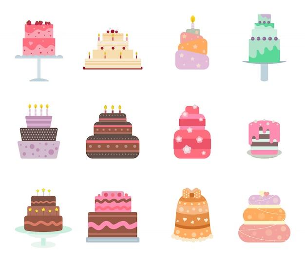 Collection de gâteaux de vecteur