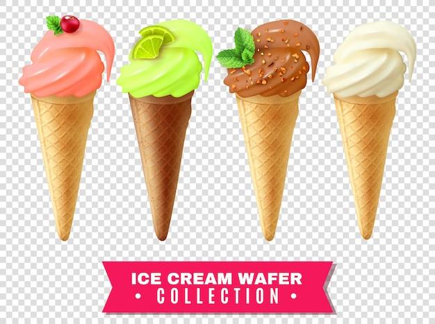 Collection de gaufrettes de crème glacée