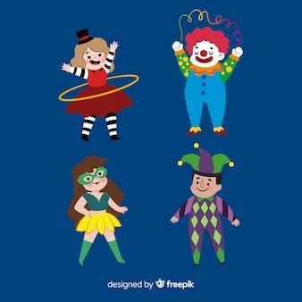 Collection de gens habillés colorés