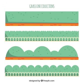 Collection géométrique de l'herbe frontières avec des clôtures