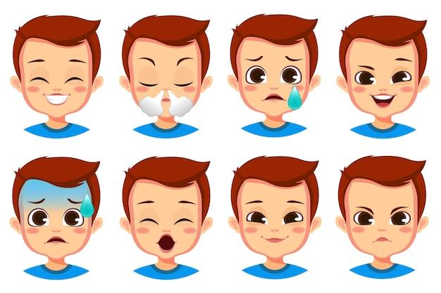 Collection de gestes du visage garçon mignon isolé sur blanc