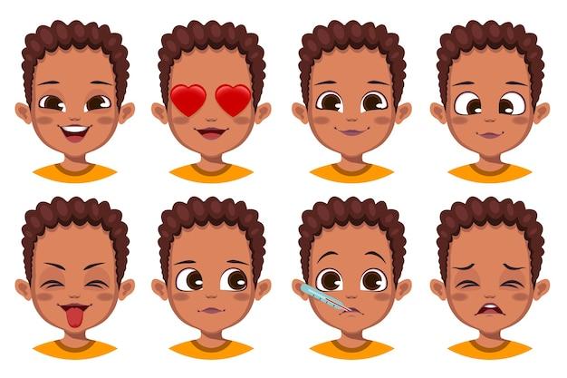 Collection de gestes faciaux garçon mignon