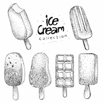 Collection de glace à la main dessinée
