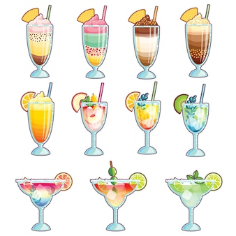 Collection de glaces, cocktails et smoothies