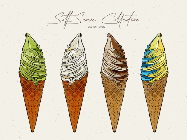 Collection de glaces à la crème dessert dessiné à la main