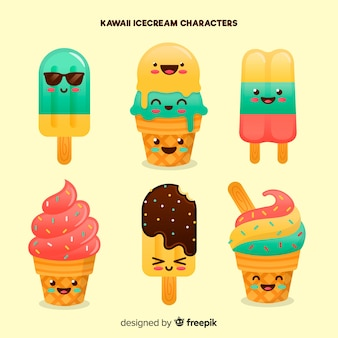 Collection de glaces d'été kawaii