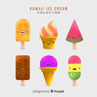Collection de glaces kawaii dessinée à la main
