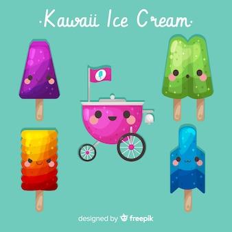 Collection de glaces kawaii dessinée à la main