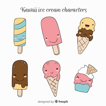 Collection de glaces kawaii