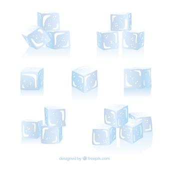 Collection de glaçons avec un design plat