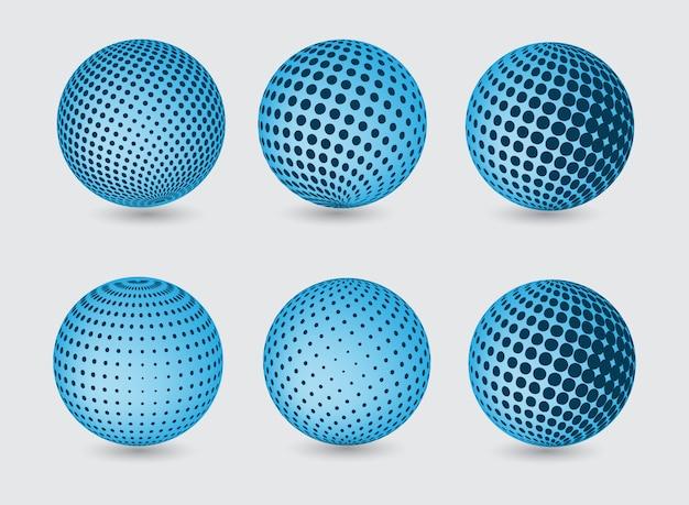 Collection de globes bleus