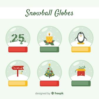Collection de globes de boules de neige de noël