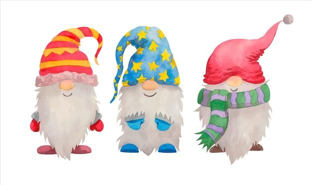 Collection de gnomes aquarelle de noël