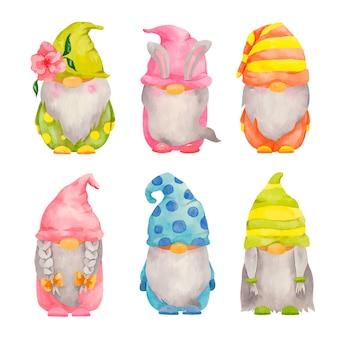 Collection de gnomes de pâques aquarelle